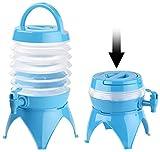 PEARL Wasserspender faltbar: Faltbares Fässchen, Auslaufhahn, Ständer, 3,5 Liter, blau/transparent (Wasserkanister faltbar)