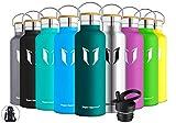 Super Sparrow Trinkflasche Edelstahl Wasserflasche 750ml - Isolier Flasche mit Perfekte Thermosflasche für Das Laufen, Fitness, Yoga, Im Freien und Camping | Frei von BPA (Dunkelgrün)