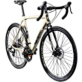 Galano Cyclocross 700c Gravel Bike Cross Fahrrad Rennrad 28' Gravel Trail 14Gang (Creme/anthrazit, 58 cm)