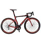 Carbon Rennrad,SAVADECK Phantom3.0 700C Rennrad Kohlefaser Rennräder Fahrrad Shimano Ultegra 8000 22 Speed Group Set mit Michelin 700C*25C Reifen und Fizik Sattel (54cm, Schwarz Rot)