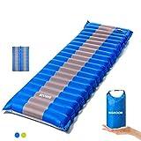 SGODDE Isomatte Camping Selbstaufblasbare,Handpresse Aufblasbare,leichte Rucksackmatte für Wanderungen zum Wandern auf Reisen,langlebige wasserdichte Luftmatratze kompakte Wandermatte (Blau)