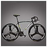 NENGGE Rennrad Fahrrad, Erwachsene Rahmen aus Kohlenstoffstahl Fahrrad mit Scheibenbremsen, Straßenrennrad für Damen und Herren,3 Spoke Black,27 Speed