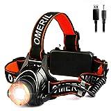 Stirnlampe LED OMERIL USB Wiederaufladbar Kopflampe LED, Stirnlampe mit 3 Lichtmodi 2000lm, 90° Einstellbar Wasserdicht Zoombar Headlight für Spazieren, Angeln, Campen, Arbeiten, Autoreparatur