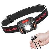LED Stirnlampe Kopflampe USB Wiederaufladbare Mini stirnlampen Wasserdicht Kopflampe Leichtgewichts Perfekt fürs Laufen,Joggen, Angeln, Campen, für Kinder und mehr