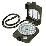 Proster Tragbare wasserdichte Navigationstasche mit Kompass aus Metall für Wandern, Camping, Klettern, Geologie, Outdoor-Aktivitäten, Oliv