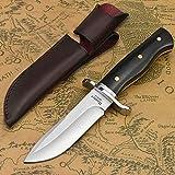 NedFoss Jagdmesser scharf Hunter, Survival Messer für Outdoor, Scharfer D2 Messer mit Exquisite Ledertasche, Rotholzgriff, 59-60HRC, Extra scharf (Schwarz)