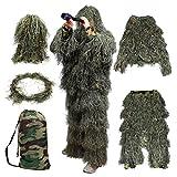 Goetland 5-teilige 3D Ghillie Tarnanzug Ghillie Suit Wald für Jagd Allerheiligen Hoax